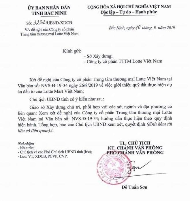 Văn bản chấp thuận Lotte đầu tư vào Bắc Ninh