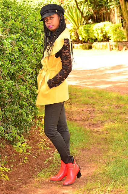 How to wear yellow with a red ankle boots outfit