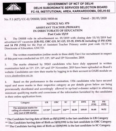 image : DSSSB Assistant Teacher Primary 15/19 Result 2020 Cut-off Marks @ TeachMatters