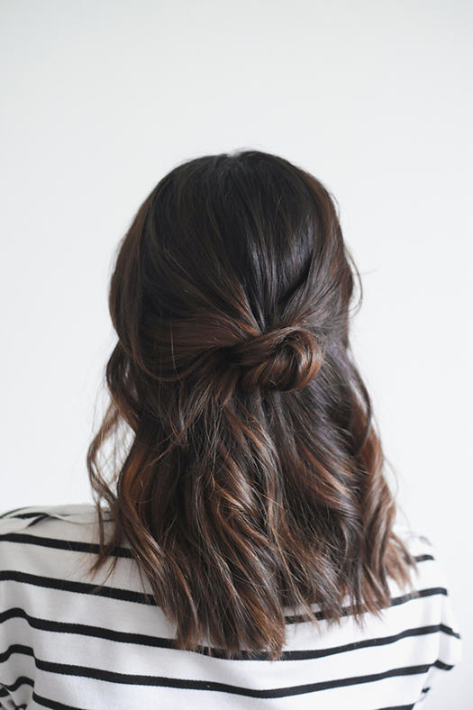 Short Hairstyle Half-Up Knot