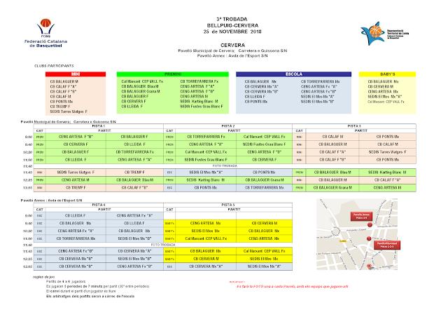 3a trobada de Escoles de Bàsquet a Bellpuig i Cervera