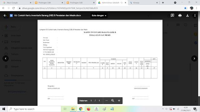 Contoh Kartu Inventaris Barang (KIB) B Peralatan dan Mesin
