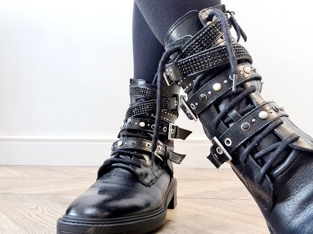 Zara pearl studded chunky biker boote