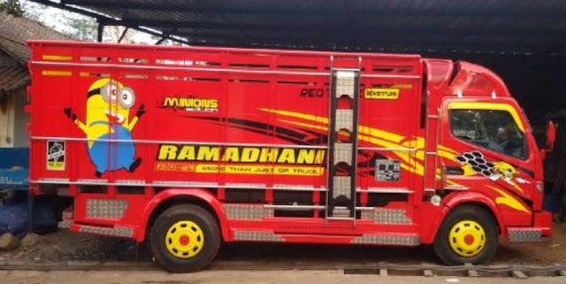 modifikasi truk warna merah terbaru