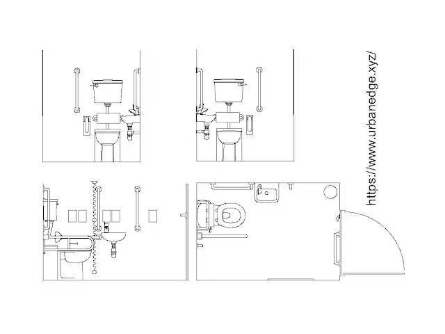 Disabled peoples cad blocks download, Toilet plan and elevation cad drawing