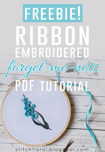Freebie! Ribbon embroidered forget-me-nots