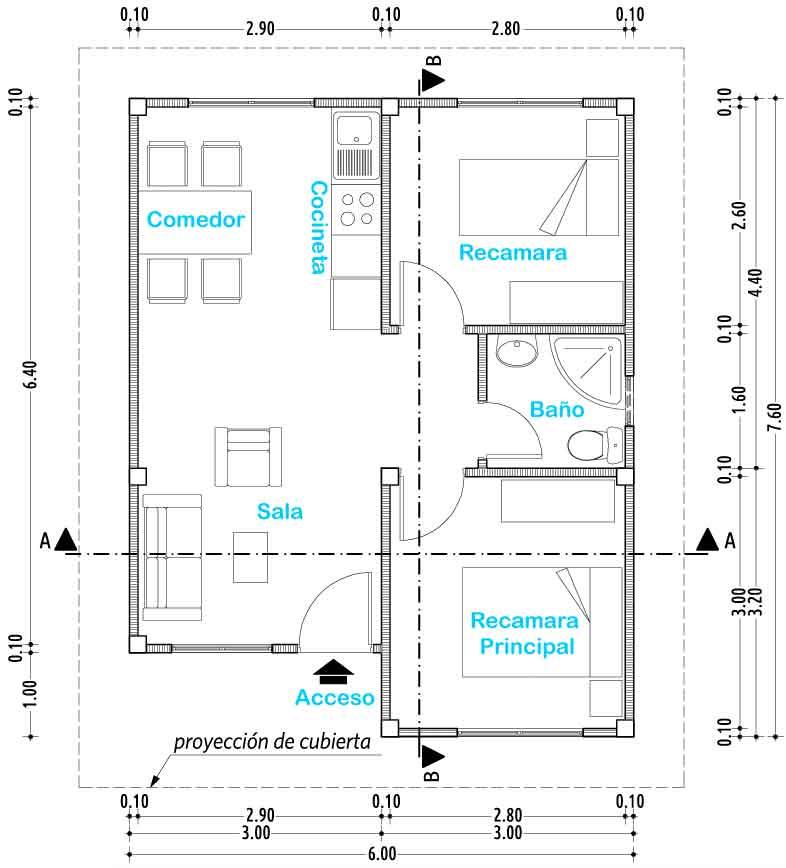 Plano de casa de un nivel proyectos de casas for Planos de casas 1 planta