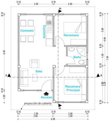 Plano de casa de un nivel proyectos de casas for Dimensiones arquitectonicas