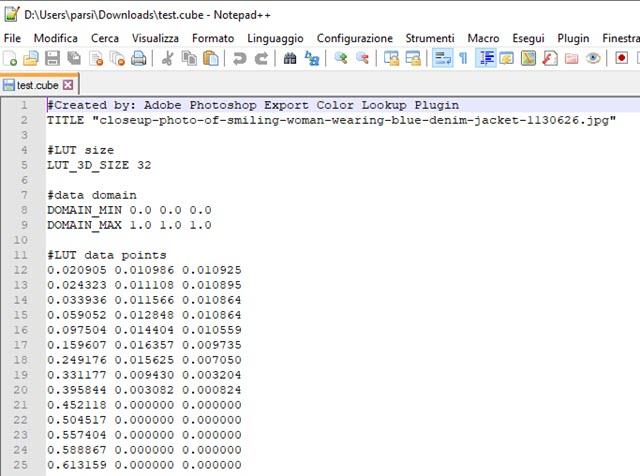 file LUT di estensione CUBE