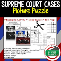 Supreme Court Cases, Civics Test Prep, Civics Test Review, Civics Study Guide, Civics Interactive Notebook Inserts, Civics Picture Puzzles