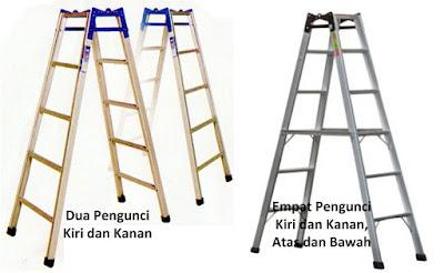 menggunakan tangga alumunium