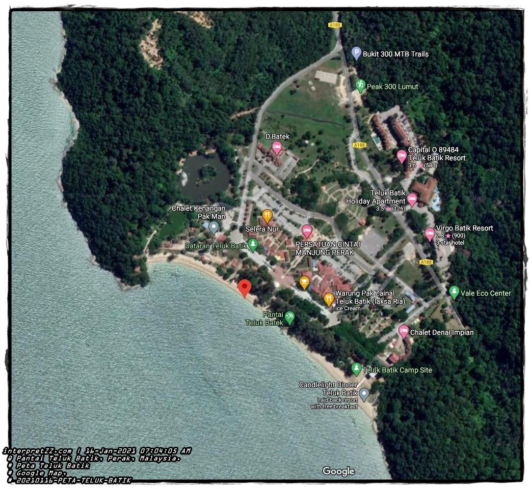Gambar menunjukkan hotel, resort, tapak perkhemahan, taman awam, tempat makan, chalet, warung, holiday apartment dan MTB Trails yang ada di Teluk Batik