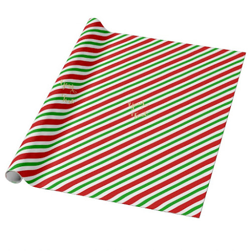 Slanted Retro Red Green White Stripes Custom Gold Text Christmas Wrapping Paper