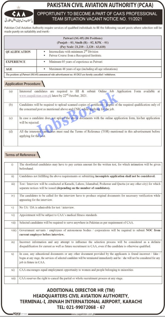 www.caapakistan.com.pk - PCAA Pakistan Civil Aviation Authority Jobs 2021 in Pakistan