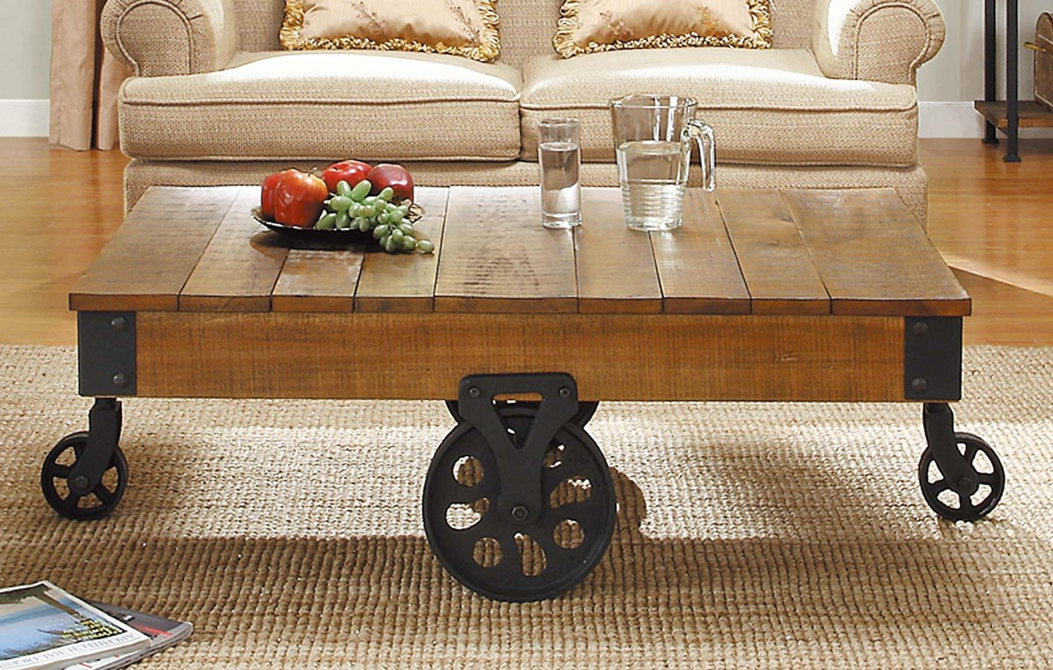 Mill Cart Coffee Table Total Fab Modern Industrial Warehouse Railroad Cart Coffee