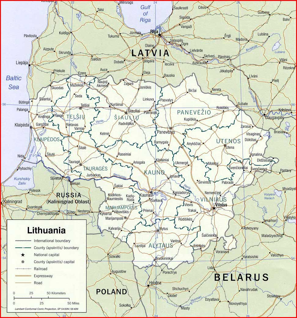 image: Lithuania political map
