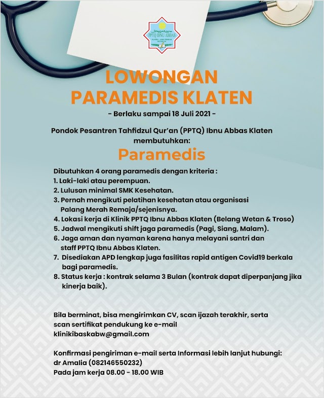 Lowongan Paramedis- PPTQ Ibnu Abbas Klaten, Jawa Tengah