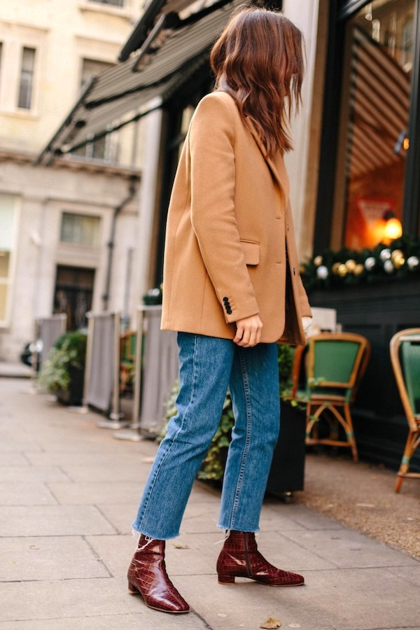 How to Wear Camel Blazer for Spring Outfit — Love Cloth Blog with raw-hem jeans and croc ankle boots