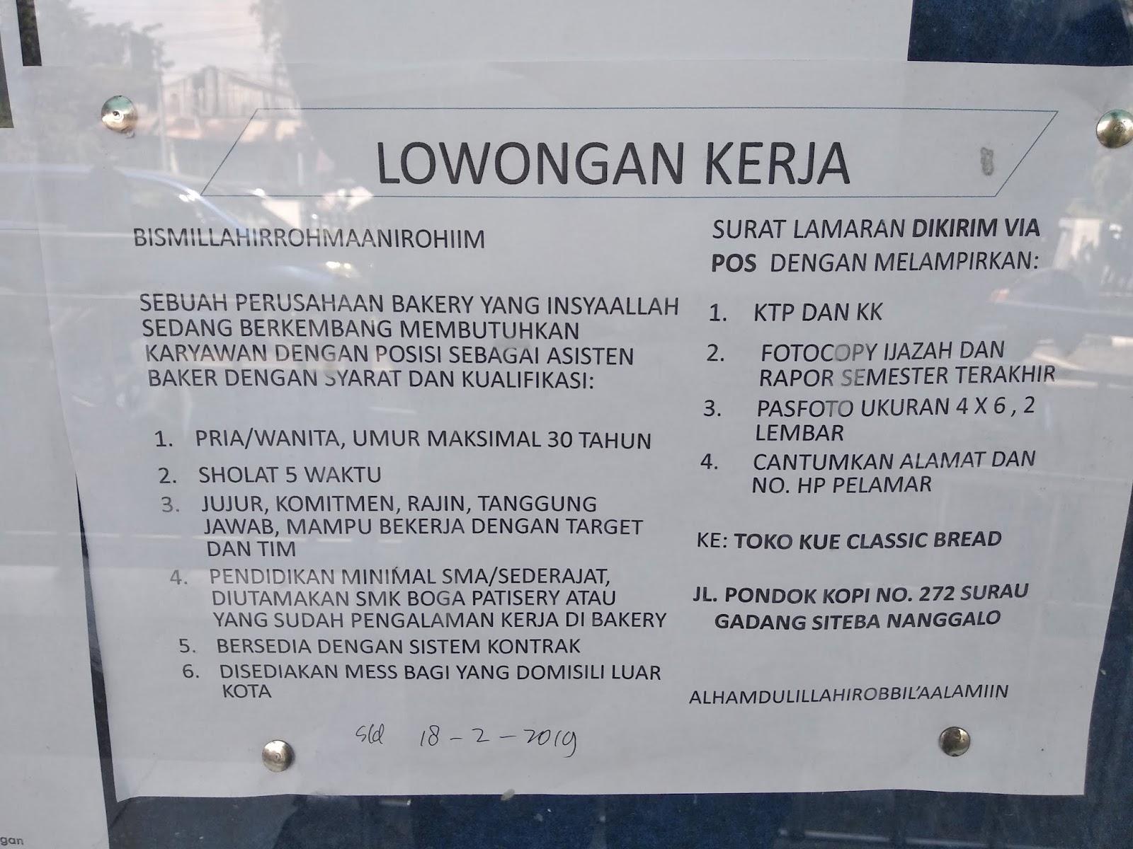 Lowongan Kerja Asisten Baker Area Padang Toko Kue Classic
