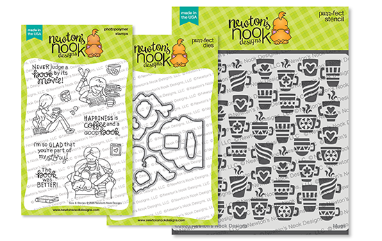 Sips & Stories Stamp Set and Mugs Stencil by Newton's Nook Designs