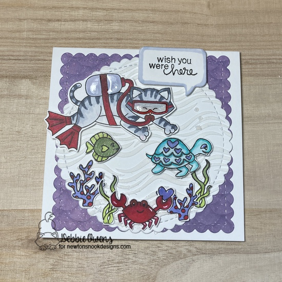 Wish you were here by Debbie features Circle Frames, Waves, Frames Squared, Speech Bubbles, Scuba Newton, and Tides of Love by Newton's Nook Designs; #inkypaws, #cardmaking, #newtonsnook, #catcards