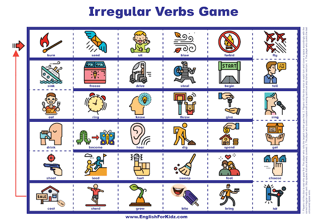 Irregular verbs game - printable ESL worksheets and other resources