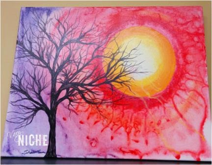 Acrylic Painting on Canvas of tree silhouette in front of red sun. by Shari Monner, VaryNiche.com