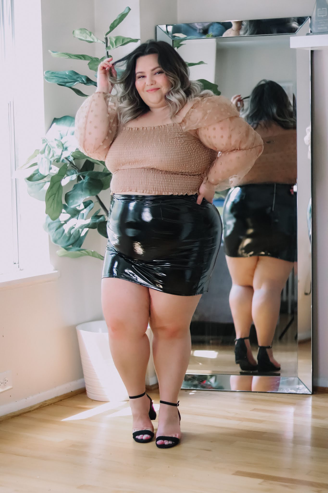 Chicago Plus Size Petite Fashion Blogger Natalie Craig Natalie in the City reviews Fashion Nova Curve's plus size latex mini skirts