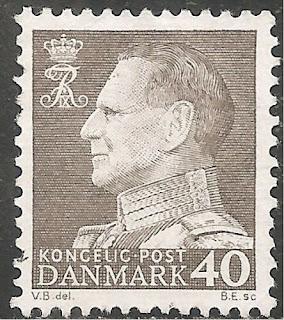 Denmark Stamp 40o Gray Frederick IX