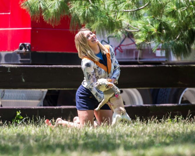 Hilary Duff in Blue Shorts in Corona Park New York