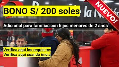 BONO 200 para familias con hijos menores de 2 años