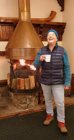 Loving the fire in Dawson Falls Lodge