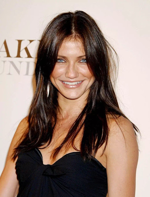 Cameron Diaz Black Hair With A Deep Center Part