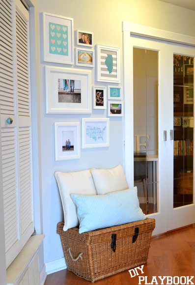 White frames in gallery wall