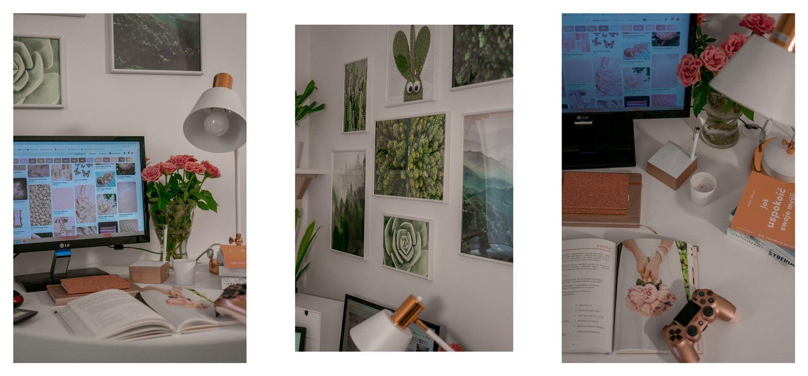 15a jak urządzić biuro w domu - dekoracje do biura, zielona ściana w mieszkaniu, jak zaprojektować galerię plakatów, plakaty krajobrazy rośliny na ścianę jak zawiesić obraz na ścianie biuro w mieszkaniu