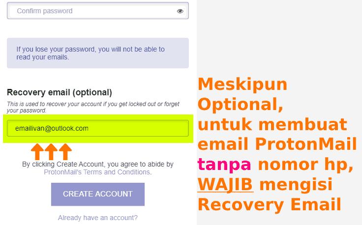 Mengisi Recovery Email akun ProtonMail baru