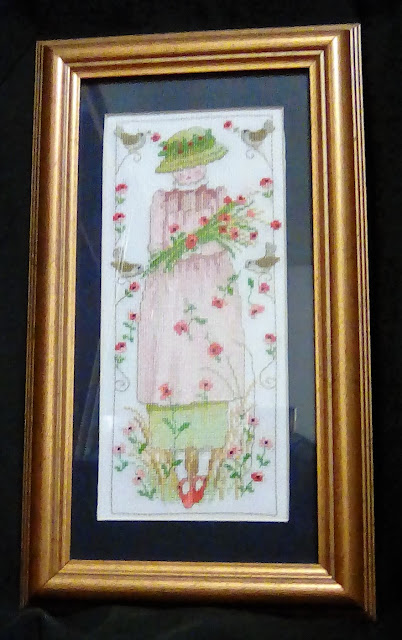 Poppy lady cross stitch  in remembrance