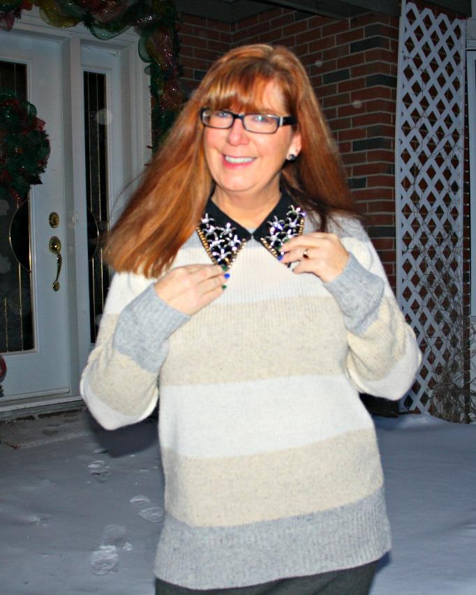 jewel collar and a banana republic sweater, cream and grey