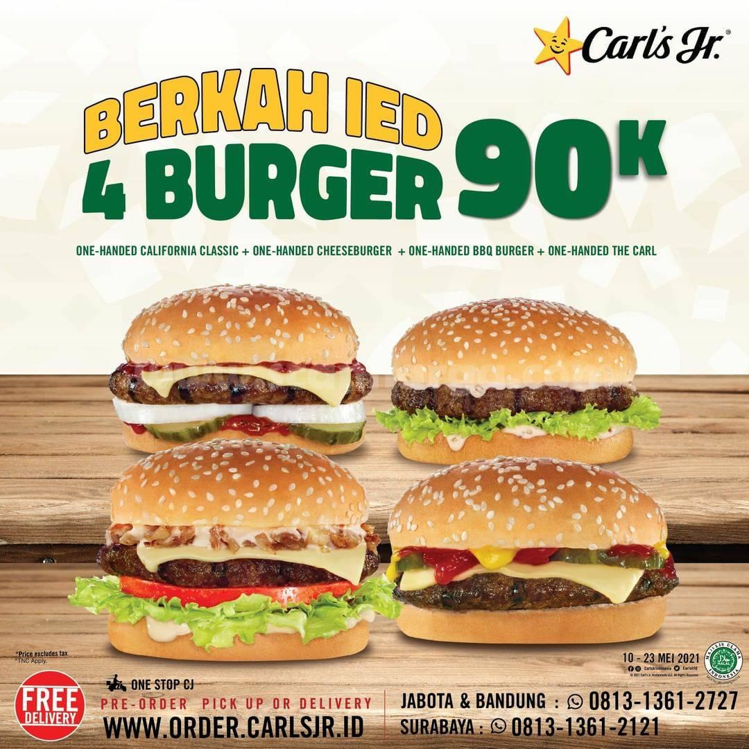 Promo CARLS JR LEBARAN! Beli 4 burger hanya 90K