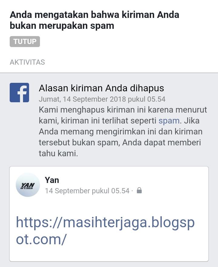 Mengatasi Blog Yang Dianggap SPAM Facebook