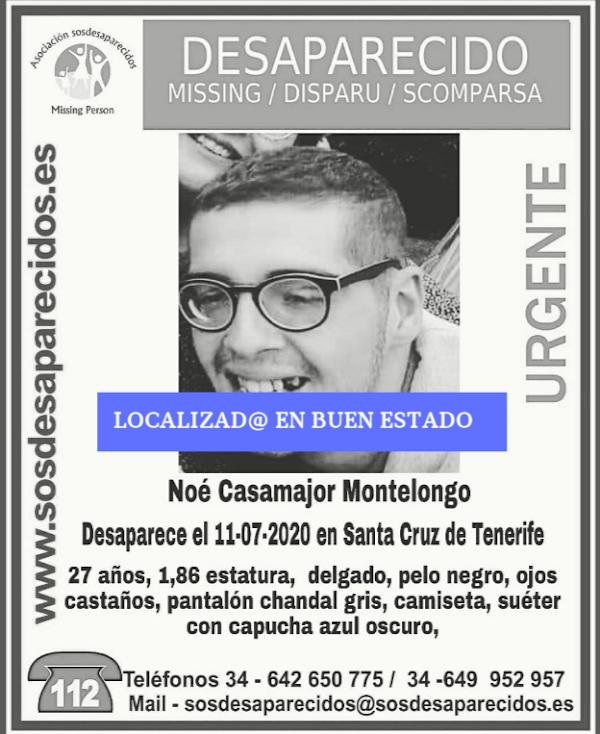 Localizado en buen estado el joven Noé Casamajor Montelongo