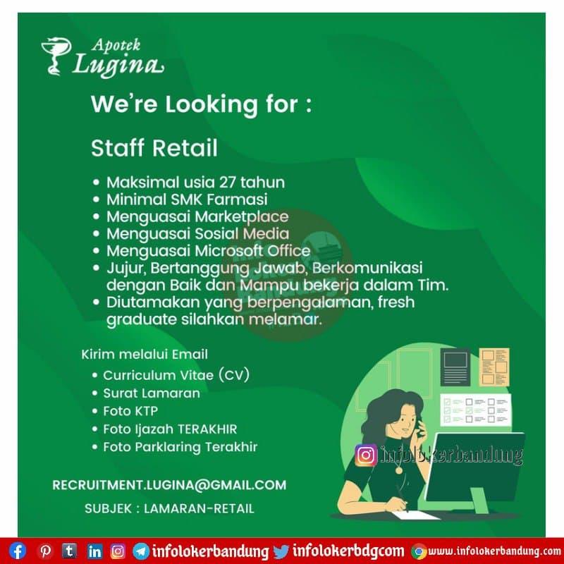 Lowongan Kerja Apotek Lugina Bandung April 2021