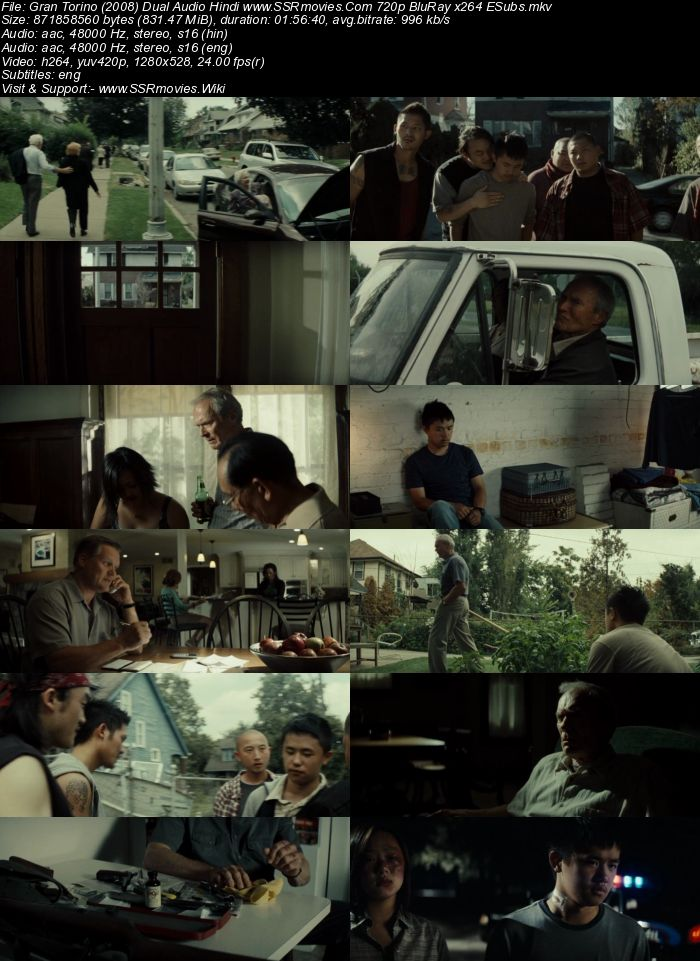 Gran Torino (2008) Dual Audio Hindi 720p BluRay x264 800MB ESubs Movie Download