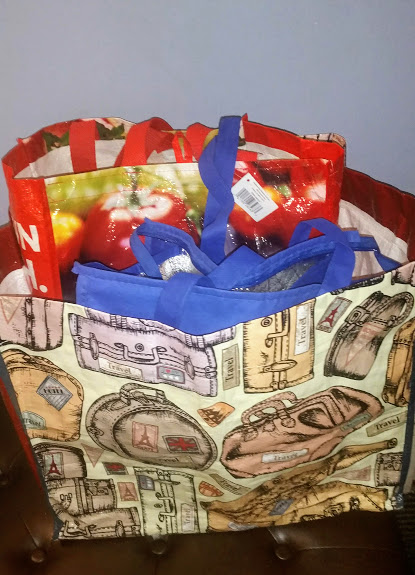 Image is of various reusable shopping bags