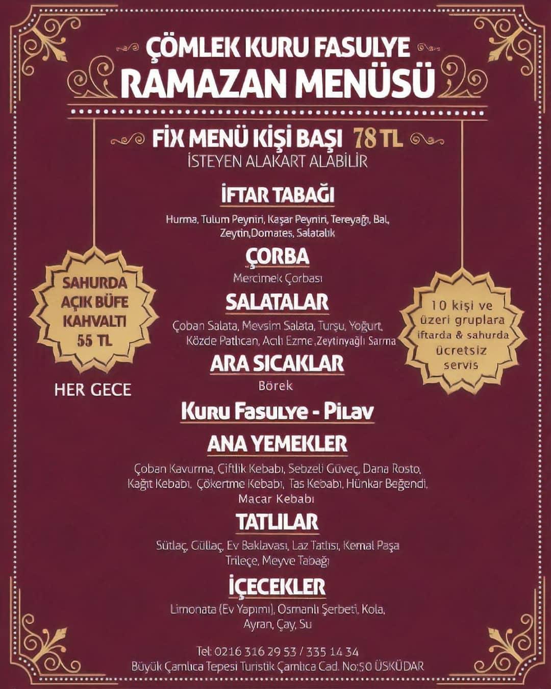 üsküdar iftar mekanları 2019 çamlıca iftar menüsü anadolu yakası iftar yapılacak yerler