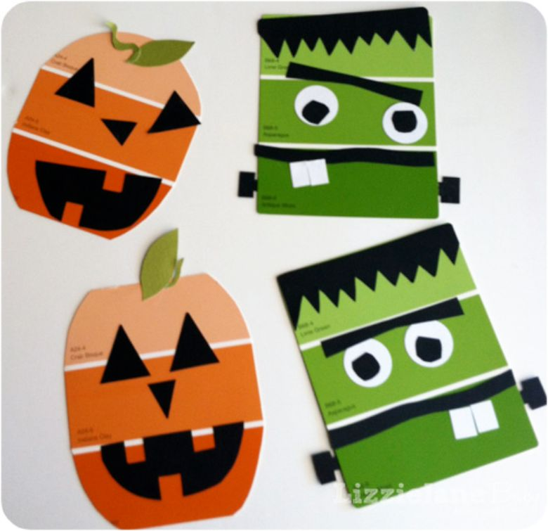 paint chips Halloween craft for kids