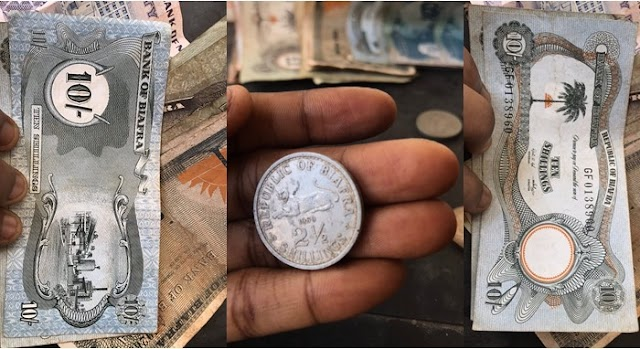 Lady shows off old Biafran currency she found in her father's house (Photos)