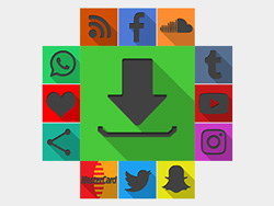 Shadowed Square Colorful Black Social Buttons