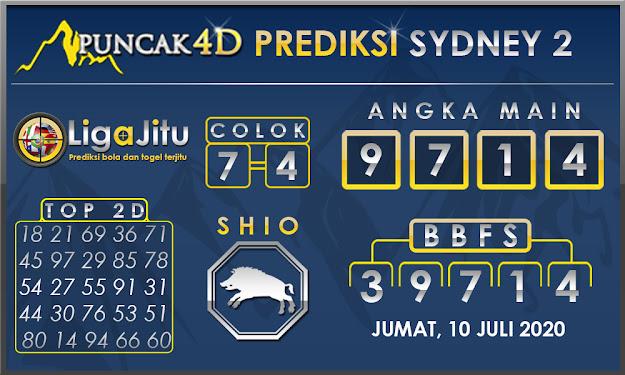 PREDIKSI TOGEL SYDNEY2 PUNCAK4D 10 JULI 2020