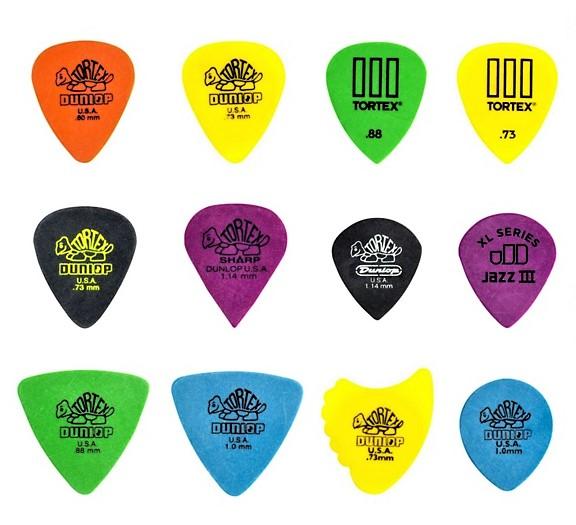 Guitar picks manufactured by Dunlop